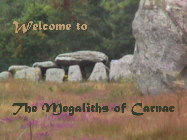 Megaliths of Carnac: Kermario dolmen with alignment standing stones in foreground
